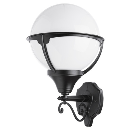 Настенный фонарь Arte Lamp Monaco A1491AL-1BK, IP44, 1xE27x75W, черный, черно-белый, металл, ковка, металл с пластиком