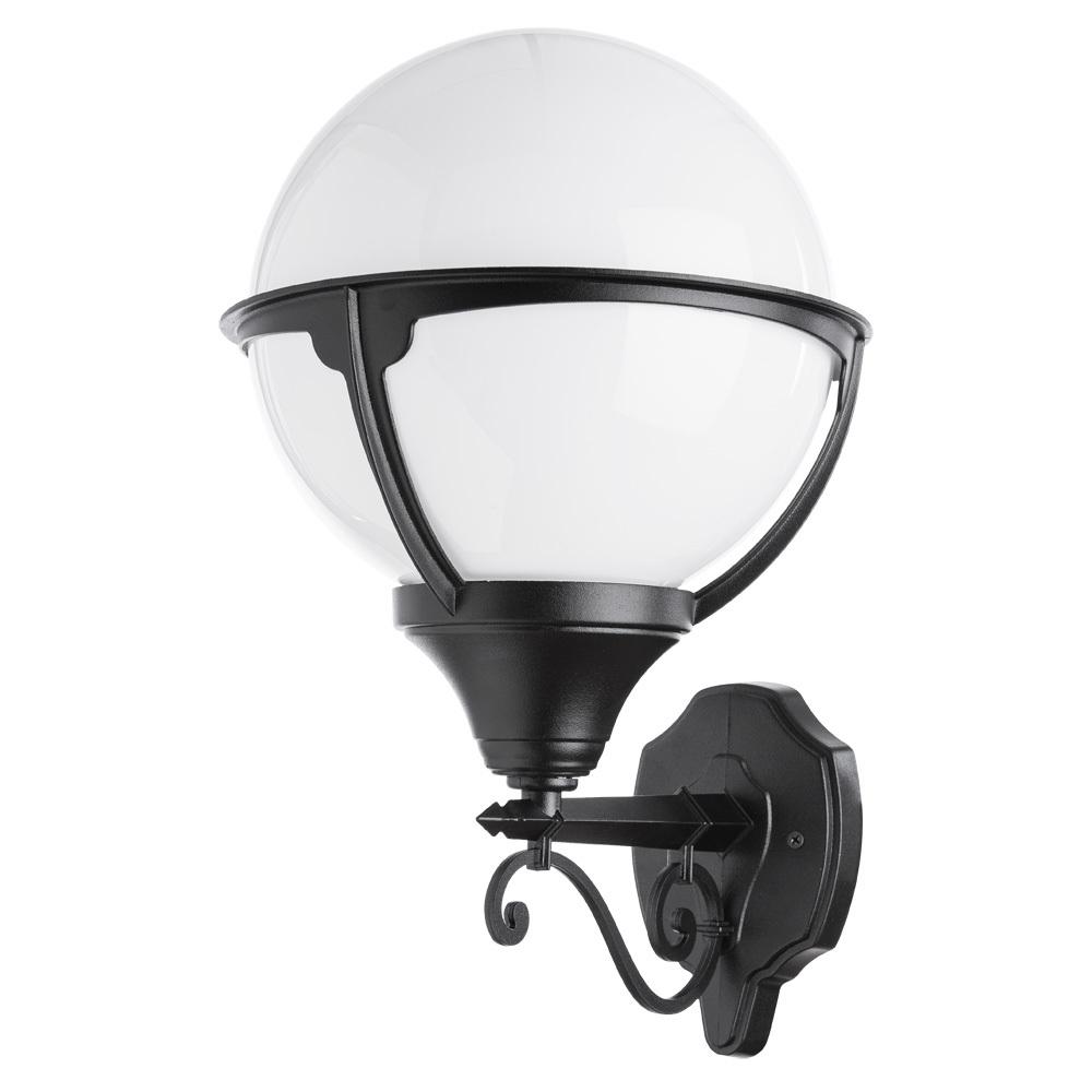 Настенный фонарь Arte Lamp Monaco A1491AL-1BK, IP44, 1xE27x75W, черный, черно-белый, металл, ковка, металл с пластиком - фото 1