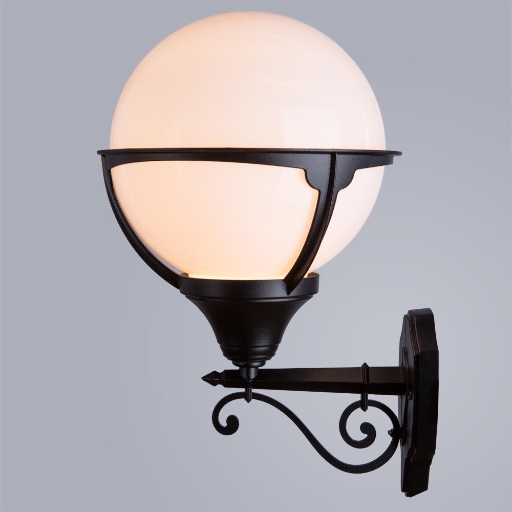 Настенный фонарь Arte Lamp Monaco A1491AL-1BK, IP44, 1xE27x75W, черный, черно-белый, металл, ковка, металл с пластиком - фото 2