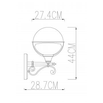Схема с размерами Arte Lamp A1491AL-1BK