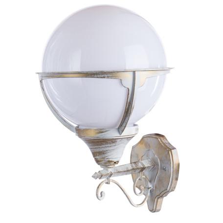 Настенный фонарь Arte Lamp Monaco A1491AL-1WG, IP44, 1xE27x75W, белый с золотой патиной, металл, ковка, металл с пластиком