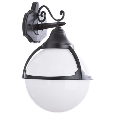 Настенный фонарь Arte Lamp Monaco A1492AL-1BK, IP44, 1xE27x75W, черный, черно-белый, металл, ковка, металл с пластиком