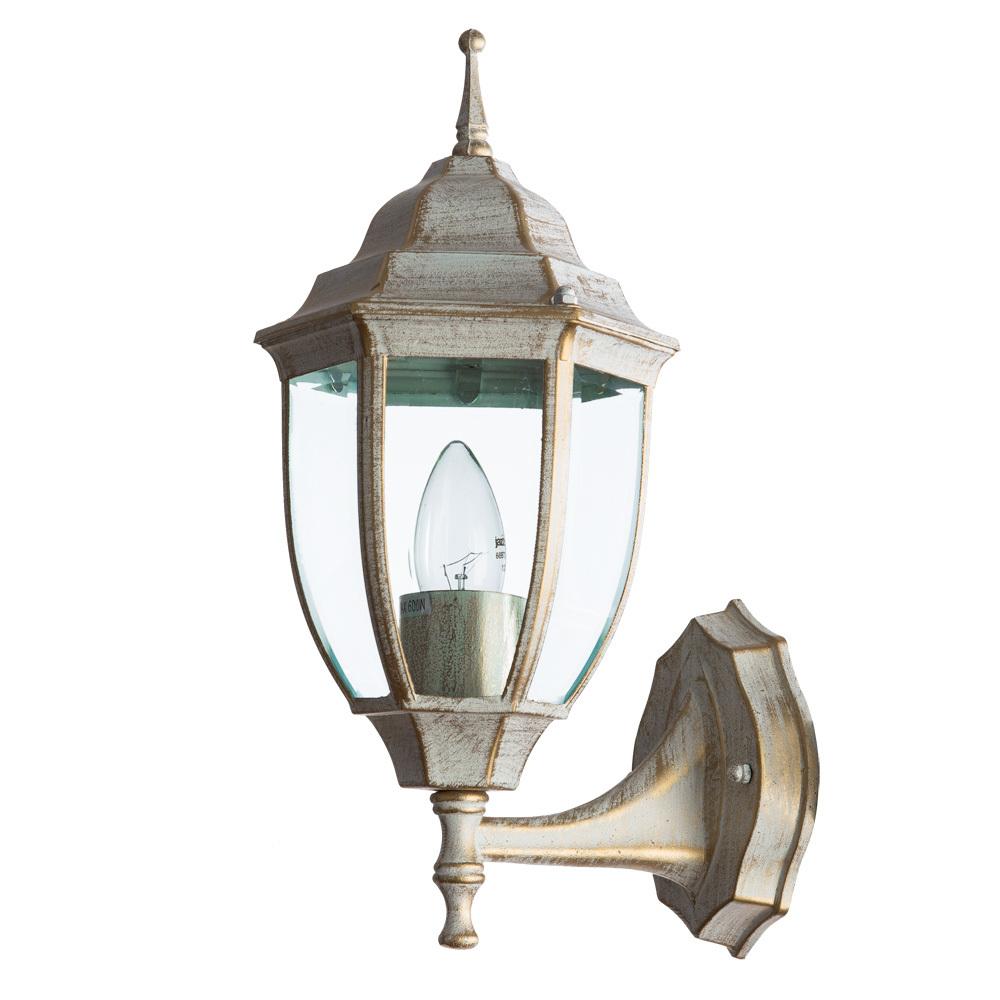 Настенный фонарь Arte Lamp Pegasus A3151AL-1WG, IP44, 1xE27x60W, белый с золотой патиной, прозрачный, металл, металл со стеклом - фото 1