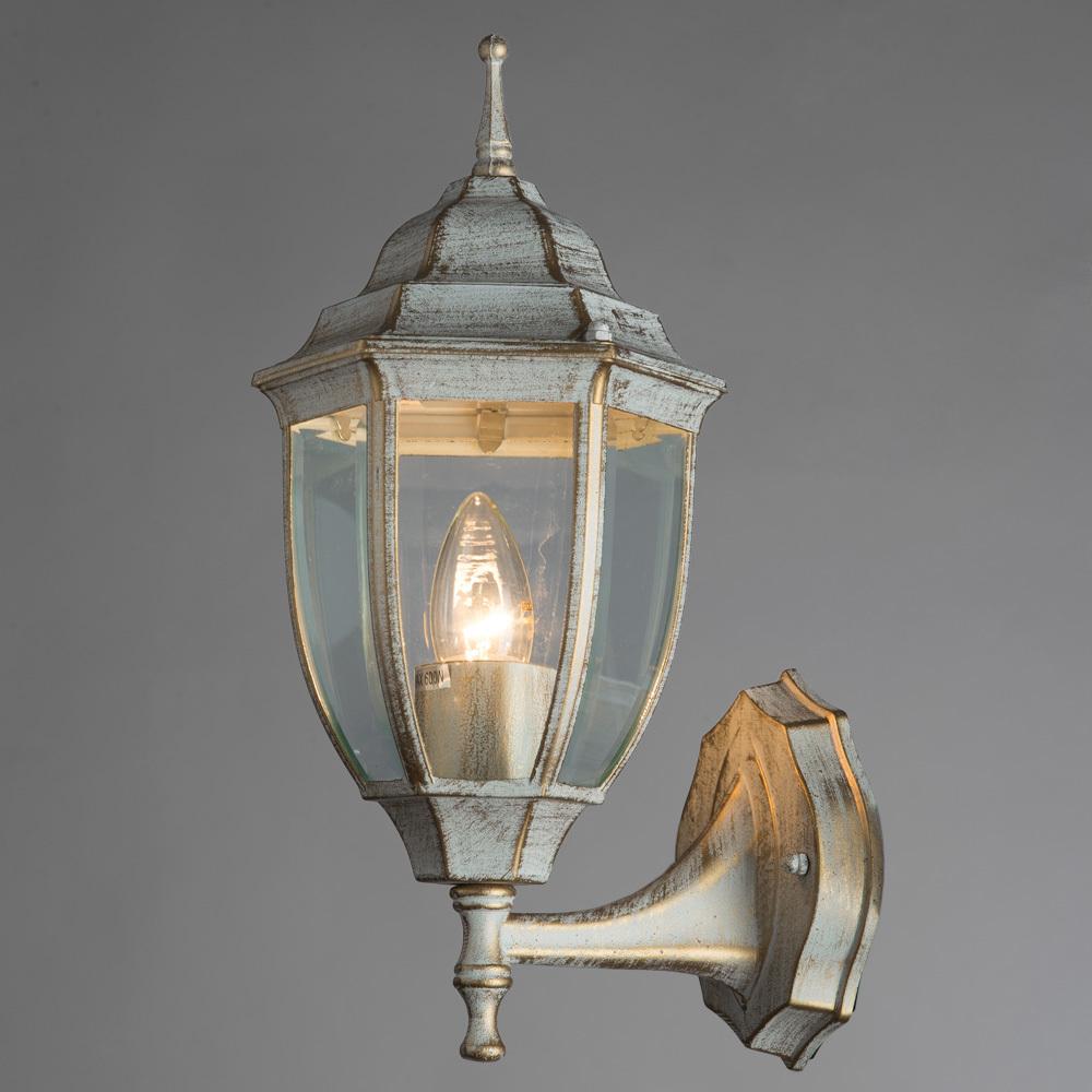 Настенный фонарь Arte Lamp Pegasus A3151AL-1WG, IP44, 1xE27x60W, белый с золотой патиной, прозрачный, металл, металл со стеклом - фото 2