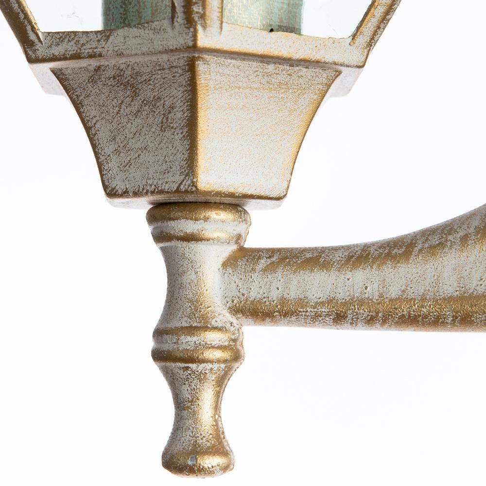 Настенный фонарь Arte Lamp Pegasus A3151AL-1WG, IP44, 1xE27x60W, белый с золотой патиной, прозрачный, металл, металл со стеклом - фото 3