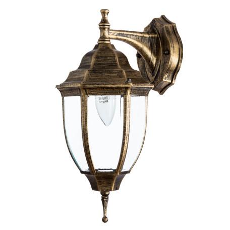 Настенный фонарь Arte Lamp Pegasus A3152AL-1BN, IP44, 1xE27x60W, черненое золото, прозрачный, черный с золотой патиной, металл, металл со стеклом