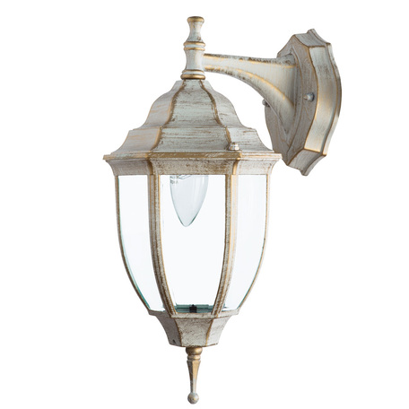 Настенный фонарь Arte Lamp Pegasus A3152AL-1WG, IP44, 1xE27x60W, белый с золотой патиной, прозрачный, металл, металл со стеклом