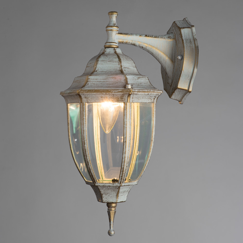 Настенный фонарь Arte Lamp Pegasus A3152AL-1WG, IP44, 1xE27x60W, белый с золотой патиной, прозрачный, металл, металл со стеклом - фото 2