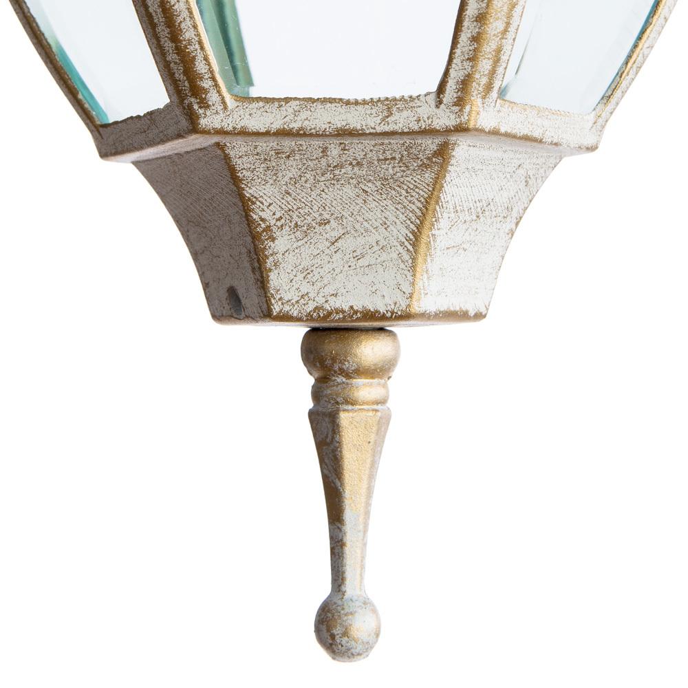 Настенный фонарь Arte Lamp Pegasus A3152AL-1WG, IP44, 1xE27x60W, белый с золотой патиной, прозрачный, металл, металл со стеклом - фото 3