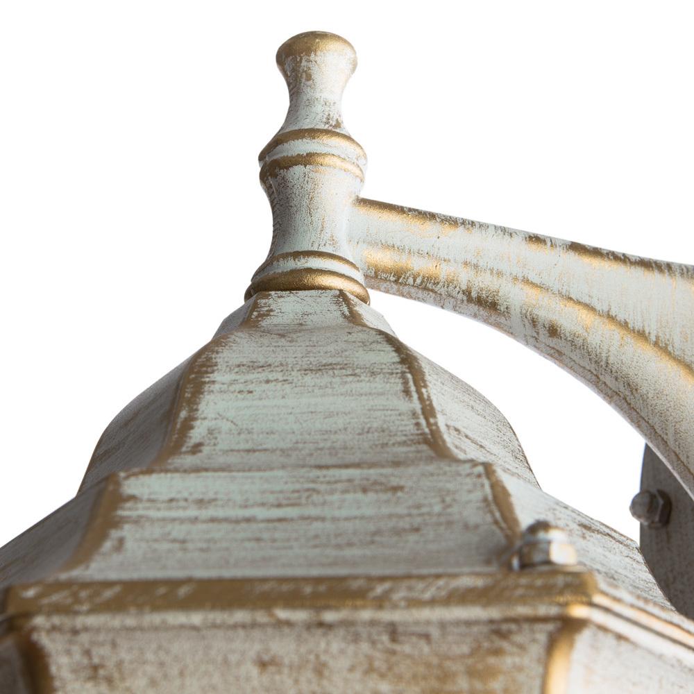 Настенный фонарь Arte Lamp Pegasus A3152AL-1WG, IP44, 1xE27x60W, белый с золотой патиной, прозрачный, металл, металл со стеклом - фото 4