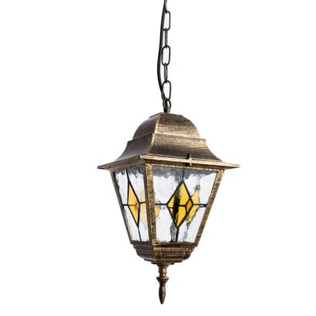 Подвесной светильник Arte Lamp Berlin A1015SO-1BN, IP44, 1xE27x75W, черный с золотой патиной, прозрачный, янтарь, металл, металл со стеклом