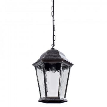 Подвесной светильник Arte Lamp Genova A1205SO-1BS, IP21, 1xE27x75W, серый, черненое серебро, прозрачный, металл, металл со стеклом