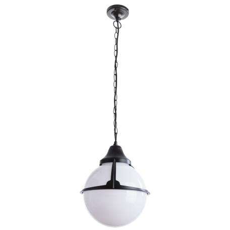 Подвесной светильник Arte Lamp Monaco A1495SO-1BK, IP44, 1xE27x75W, черный, черно-белый, металл, ковка, металл с пластиком