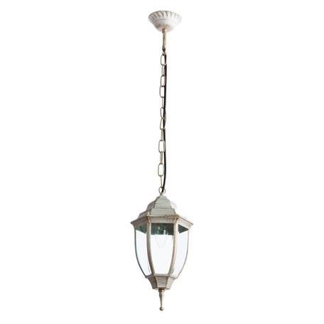 Подвесной светильник Arte Lamp Pegasus A3151SO-1WG, IP44, 1xE27x60W, белый с золотой патиной, прозрачный, металл, металл со стеклом