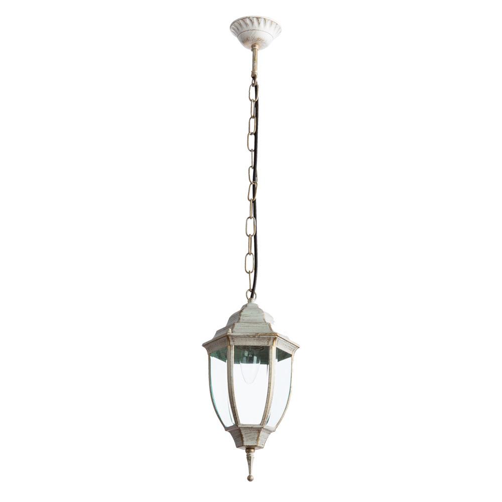 Подвесной светильник Arte Lamp Pegasus A3151SO-1WG, IP44, 1xE27x60W, белый с золотой патиной, прозрачный, металл, металл со стеклом - фото 1