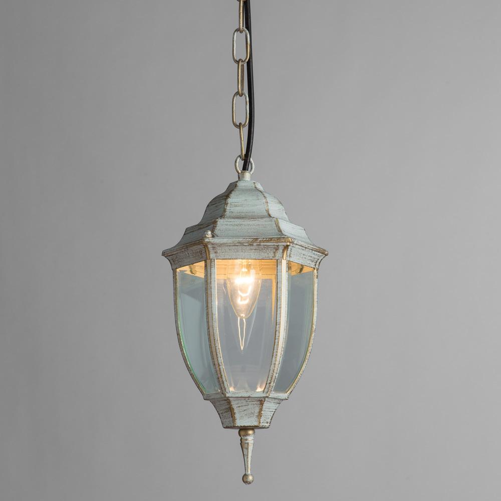 Подвесной светильник Arte Lamp Pegasus A3151SO-1WG, IP44, 1xE27x60W, белый с золотой патиной, прозрачный, металл, металл со стеклом - фото 2