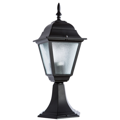 Садово-парковый светильник Arte Lamp Bremen A1014FN-1BK, IP44, 1xE27x60W, черный, металл, металл со стеклом