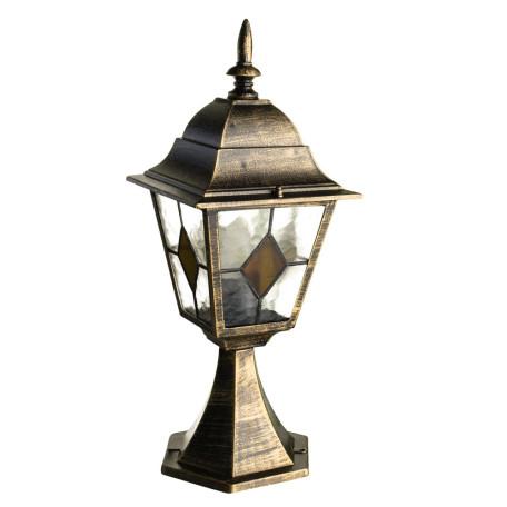 Садово-парковый светильник Arte Lamp Berlin A1014FN-1BN, IP44, 1xE27x75W, черненое золото, прозрачный, янтарь, металл, металл со стеклом