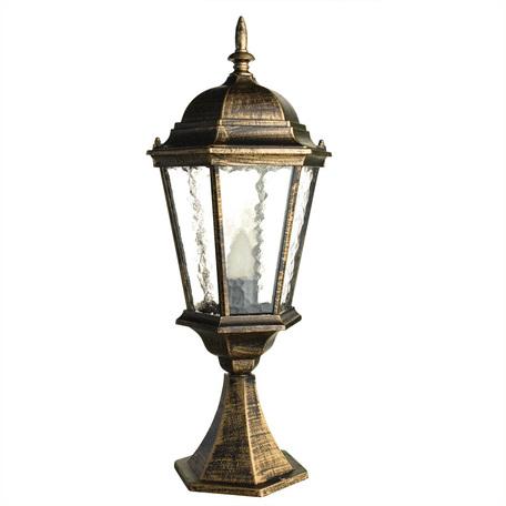 Садово-парковый светильник Arte Lamp Genova A1204FN-1BN, IP44, 1xE27x75W, черненое золото, прозрачный, черный с золотой патиной, металл, металл со стеклом