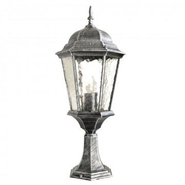 Садово-парковый светильник Arte Lamp Genova A1204FN-1BS, IP44, 1xE27x75W, серый, черненое серебро, прозрачный, металл, металл со стеклом