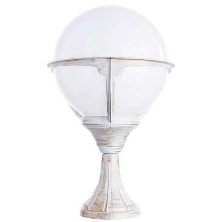 Садово-парковый светильник Arte Lamp Monaco A1494FN-1WG, IP44, 1xE27x75W, белый с золотой патиной, белый, металл, пластик
