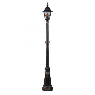 Уличный фонарь Arte Lamp Berlin A1017PA-1BN, IP44, 1xE27x75W, черненое золото, янтарь, прозрачный, металл, стекло