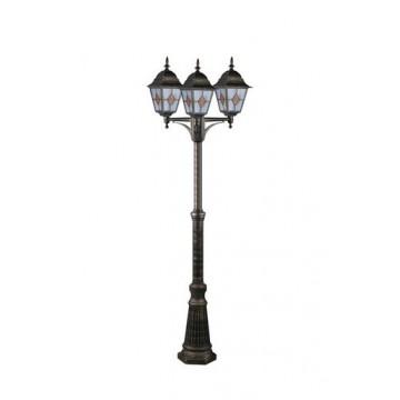 Уличный фонарь Arte Lamp Berlin A1017PA-3BN, IP44, 3xE27x75W, черненое золото, янтарь, прозрачный, металл, стекло