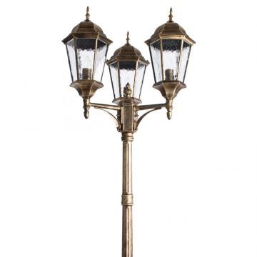 Уличный фонарь Arte Lamp Genova A1207PA-3BN, IP44, 3xE27x75W, черный с золотой патиной, черненое золото, прозрачный, металл, стекло