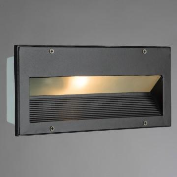 Встраиваемый настенный светильник Arte Lamp Brick A5158IN-1BK, IP54, 1xE27x60W, черный, металл, стекло