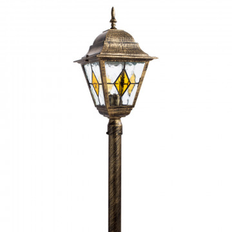 Уличный фонарь Arte Lamp Berlin A1016PA-1BN, IP44, 1xE27x75W, черненое золото, прозрачный, янтарь, металл, металл со стеклом
