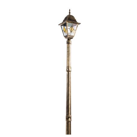 Уличный фонарь Arte Lamp Berlin A1017PA-1BN, IP44, 1xE27x75W, черный с золотой патиной, прозрачный, янтарь, металл, металл со стеклом