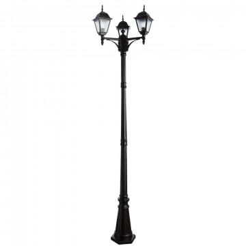 Уличный фонарь Arte Lamp Bremen A1017PA-3BK, IP44, 3xE27x60W, черный, металл, металл со стеклом
