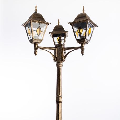 Уличный фонарь Arte Lamp Berlin A1017PA-3BN, IP44, 3xE27x75W, черненое золото, прозрачный, янтарь, металл, стекло