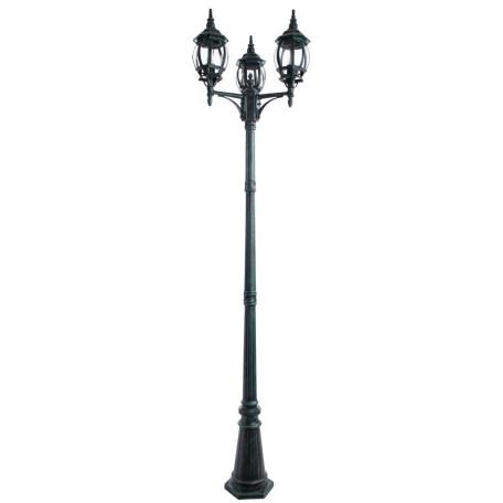 Уличный фонарь Arte Lamp Atlanta A1047PA-3BG, IP21, 3xE27x75W, бирюзовый, прозрачный, металл, ковка, металл со стеклом