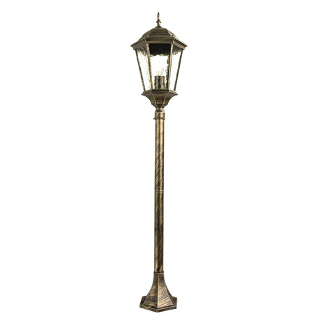 Уличный фонарь Arte Lamp Genova A1206PA-1BN, IP44, 1xE27x75W, черненое золото, прозрачный, черный с золотой патиной, металл, металл со стеклом - миниатюра 1