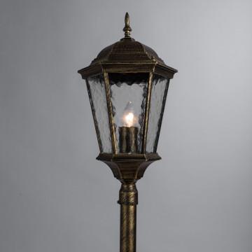 Уличный фонарь Arte Lamp Genova A1206PA-1BN, IP44, 1xE27x75W, черненое золото, прозрачный, черный с золотой патиной, металл, металл со стеклом - миниатюра 2