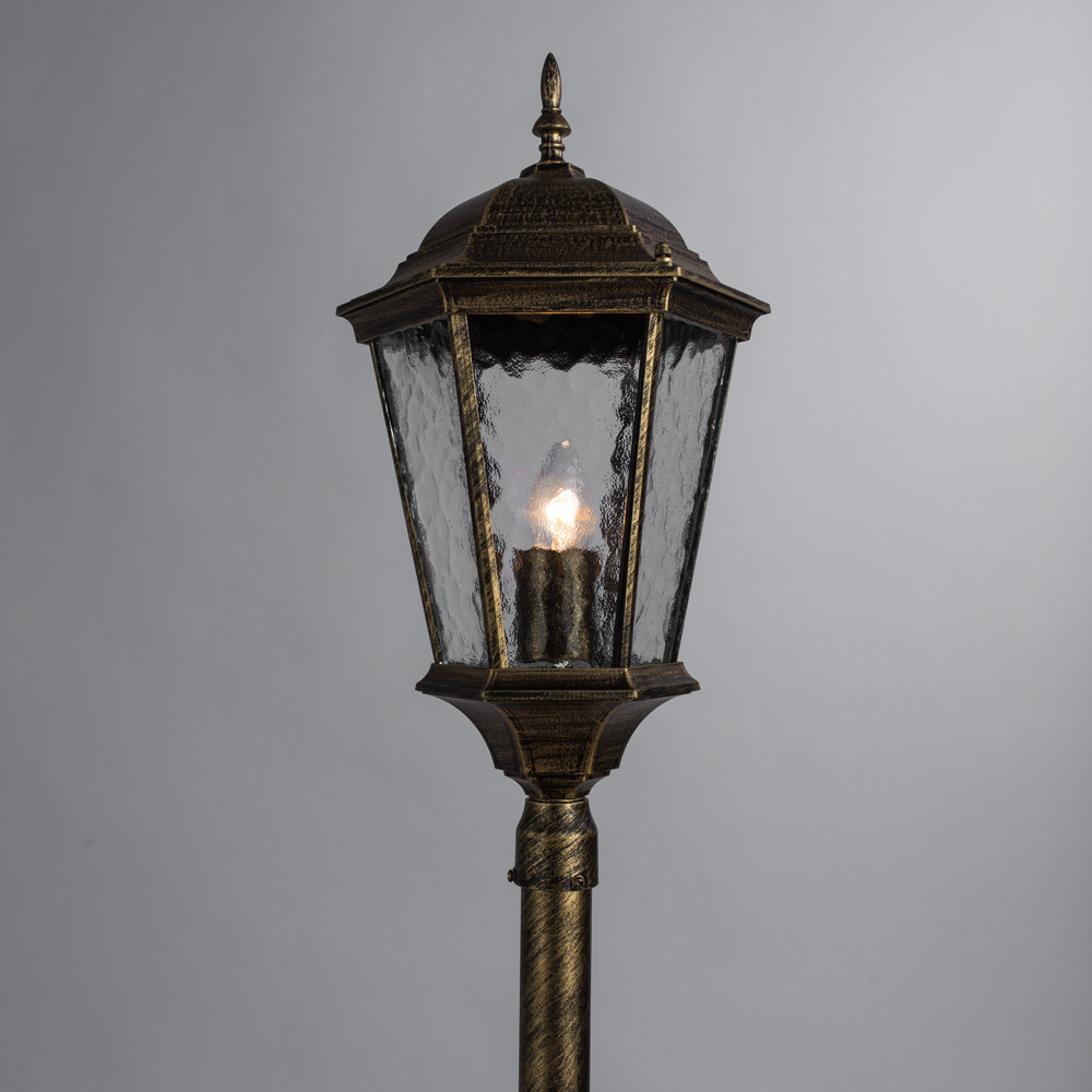 Уличный фонарь Arte Lamp Genova A1206PA-1BN, IP44, 1xE27x75W, черненое золото, прозрачный, черный с золотой патиной, металл, металл со стеклом - фото 2