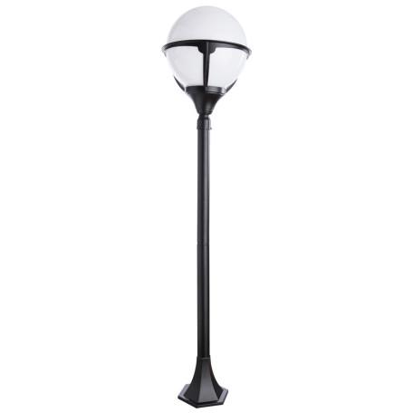 Уличный фонарь Arte Lamp Monaco A1496PA-1BK, IP44, 1xE27x75W, черный, черно-белый, металл, ковка, металл с пластиком