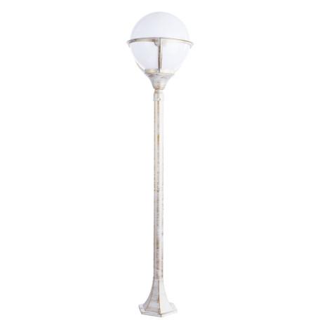 Уличный фонарь Arte Lamp Monaco A1496PA-1WG, IP44, 1xE27x75W, белый с золотой патиной, металл, металл со стеклом/пластиком