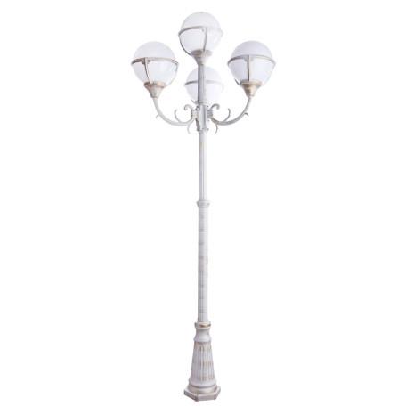 Уличный фонарь Arte Lamp Monaco A1497PA-4WG, IP44, 4xE27x75W, белый с золотой патиной, белый, металл, пластик