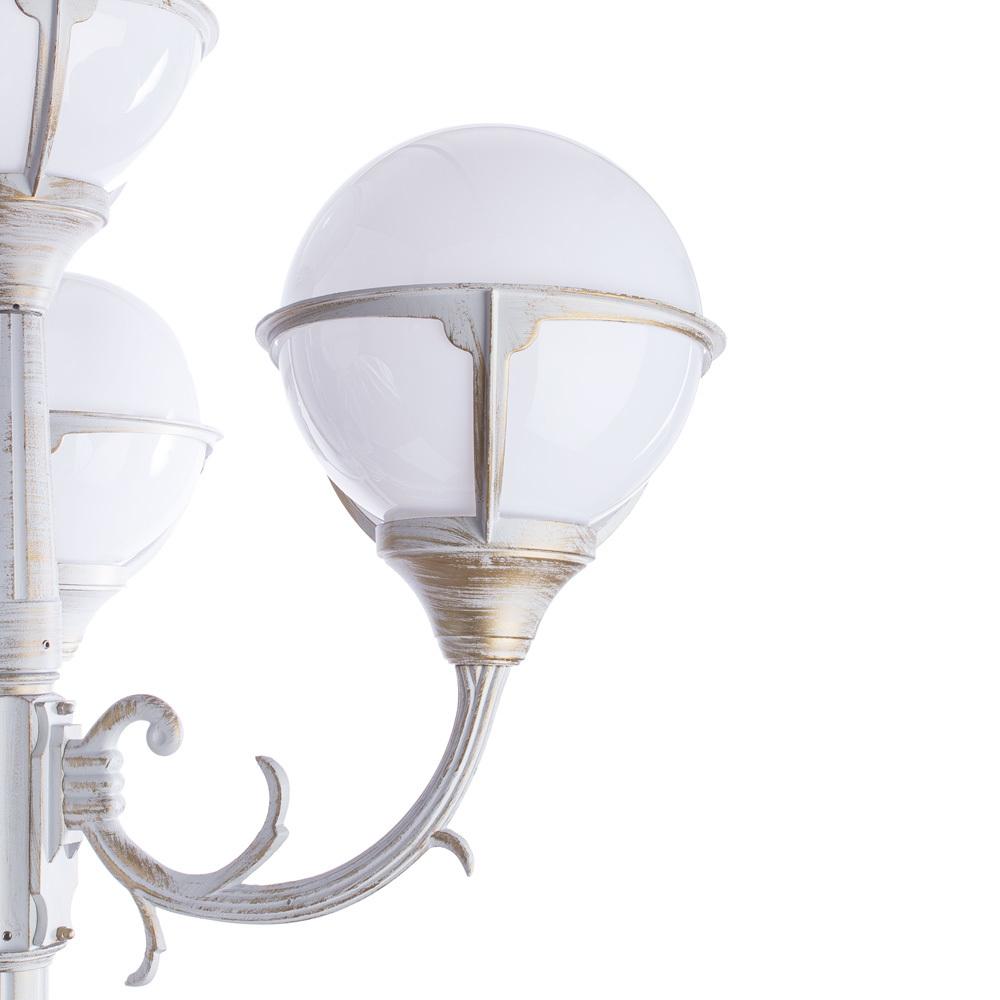 Уличный фонарь Arte Lamp Monaco A1497PA-4WG, IP44, 4xE27x75W, белый с золотой патиной, белый, металл, пластик - фото 4