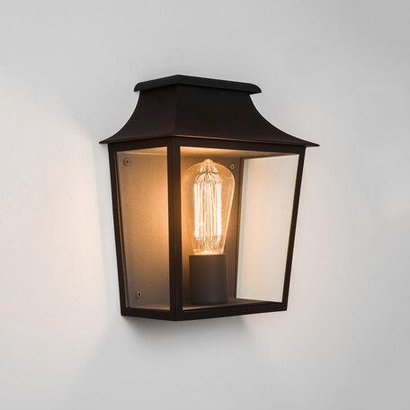 Настенный фонарь Astro Richmond 1340001 (7270), IP44, 1xE27x60W, черный, прозрачный, стекло