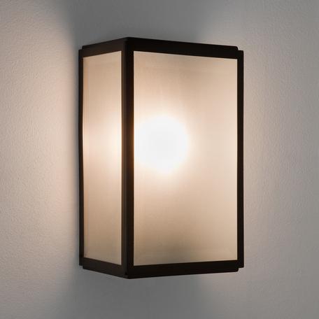 Настенный светильник Astro Homefield 1095011 (7266), IP44, 1xE27x60W, черный, белый, металл, стекло