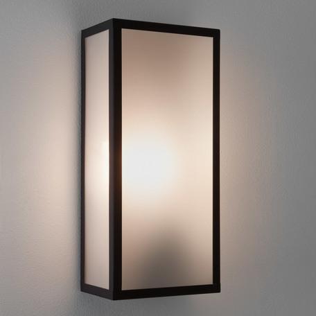 Настенный светильник Astro Messina 1183004 (7355), IP44, 1xE27x60W, черный, стекло