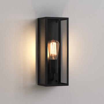 Настенный светильник Astro Messina 1183005 (7384), IP44, 1xE27x60W, черный, прозрачный, стекло