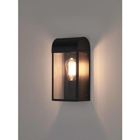 Настенный светильник Astro Newbury 1339001 (7267), IP44, 1xE27x60W, черный, прозрачный, стекло