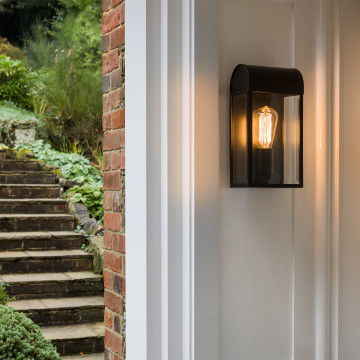Настенный светильник Astro Newbury 1339001 (7267), IP44, 1xE27x60W, черный, прозрачный, металл, стекло - миниатюра 3
