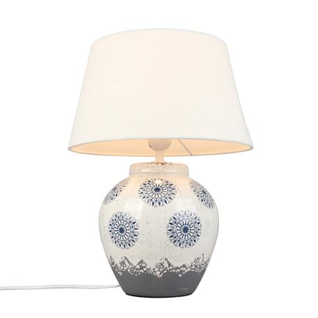 Светильник Omnilux Salutio OML-16804-01, 1xE27x60W, серый с белым, белый, керамика, текстиль