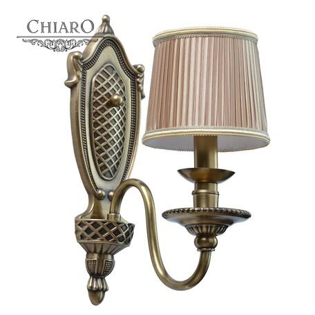 Бра Chiaro Паула 411021101, 1xE14x40W, бронза, бежевый, металл, текстиль