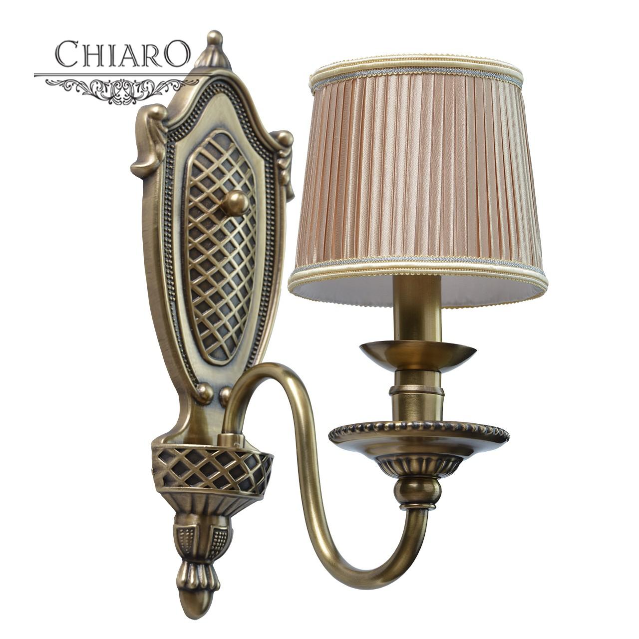 Бра Chiaro Паула 411021101, 1xE14x40W, бронза, бежевый, металл, текстиль - фото 1